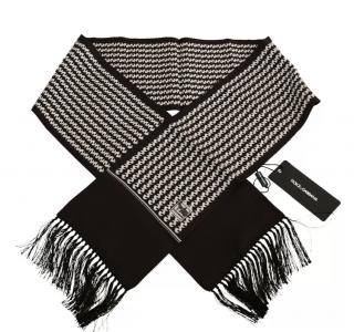 Dolce & Gabbana Men's Black & White Silk Fringe Scarf