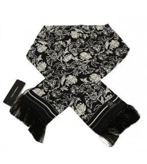Dolce & Gabbana Men's Black & White Printed Silk Fringe Scarf