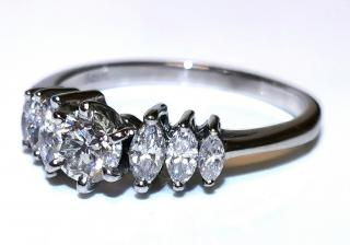 Bespoke six stone diamond ring set in white gold