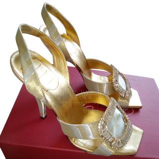 Roger Vivier Gold Satin Crystal Embellished Sandals