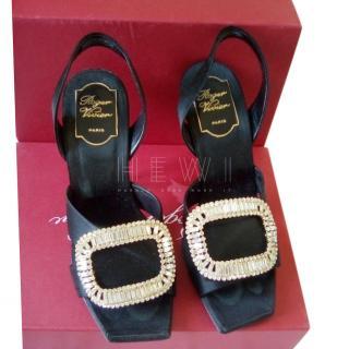 Roger Vivier Black Satin Crystal Embellished Sandals