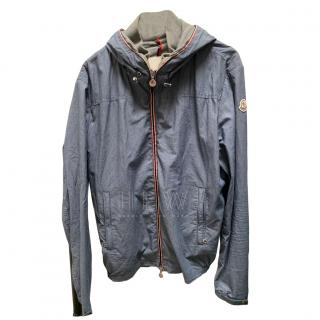 Moncler hooded blue cotton jacket