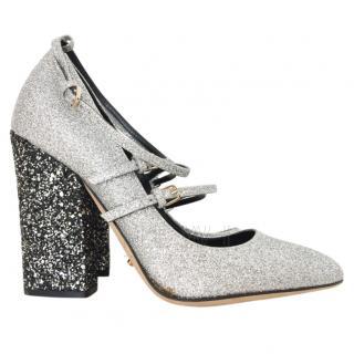 Sergio Rossi Black & Silver Glitter Mary-Jane Sandals