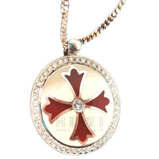 Bespoke Enamel Diamond Set Cross Pendant in 18ct Gold