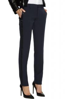 Saint Laurent navy satin trimmed wool tuxedo pants