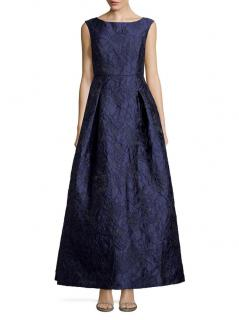 Karl Lagerfeld Blue Jacquard Gown
