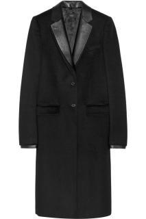 Joseph Dakota leather-trimmed wool and cashmere-blend coat