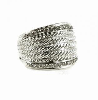 David Yurman Diamond Wheaton 18 mm Wide Band Ring