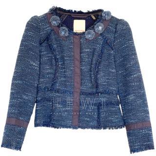 Rebecca Taylor Tweed Blue Cropped Jacket - As worn by Kate Middleton