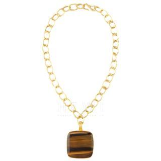Dina Mackney Tiger's Eye Pendant Necklace