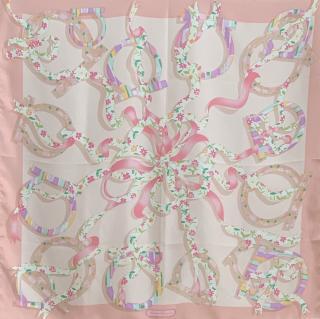 Salvatore Ferragamo Gancio pink floral-print scarf