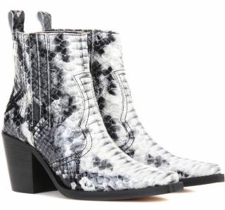 Ganni nellie embossed leather boots