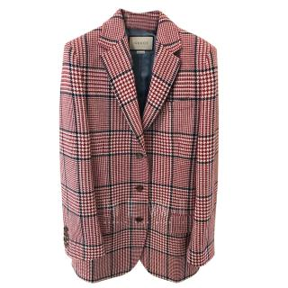 Gucci Red Wool Check Blazer