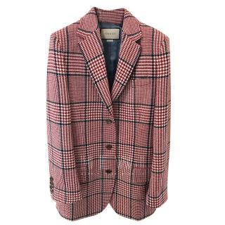 Gucci Red Wool Check Blazer