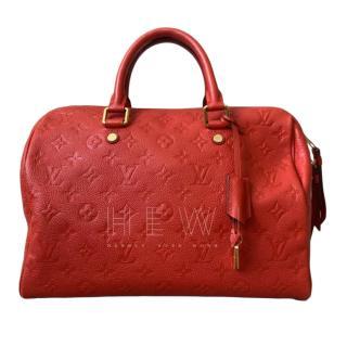 Louis Vuitton Red Monogram Empreinte Leather Speedy 30