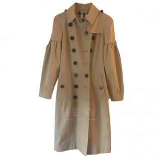 Burberry Camel Puff Sleeve Trench Coat