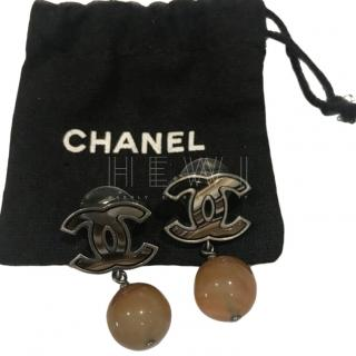 Chanel tortoiseshell effect cc drop earrings