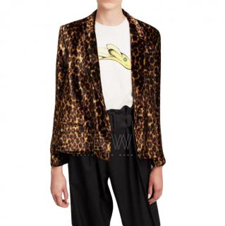 Masscob Franklin Velvet Leopard Print Blazer
