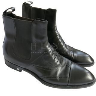 Louis Vuitton Black Leather Brogue Ankle Boots