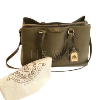 Lauren Ralph Lauren Tate Center Zip Saffiano Leather Olive Tote