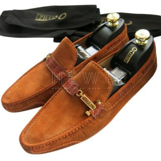 Zilli Orange Suede Loafers W/ Crocodile Trim