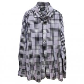 Tom Ford Men's Lilac Check Shirt