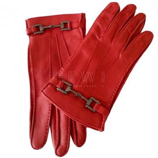 Gucci Red Leather Horsebit Gloves