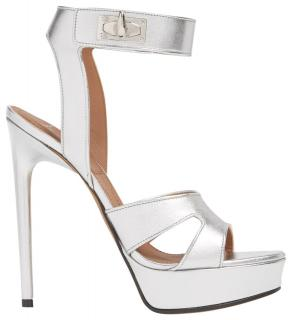 Givenchy Silver Shark-lock Leather Platform Sandals