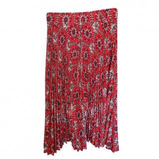 Red Valentino Paisley Print Pleated Skirt