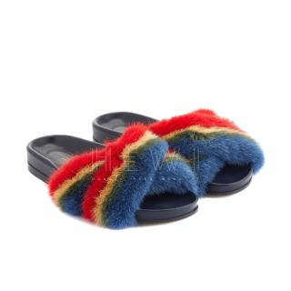 Anya Hindmarch Mink Fur Rainbow Slides