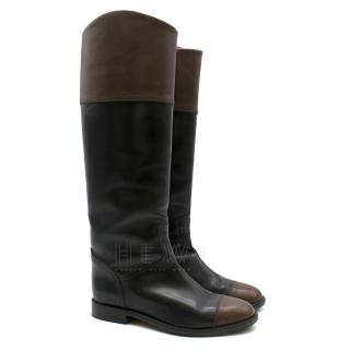 Chanel Black & Brown Leather Knee High Boots