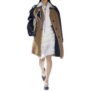 Louis Vuitton Leather Paneled Teddy Bear Coat with Leather Sleeves