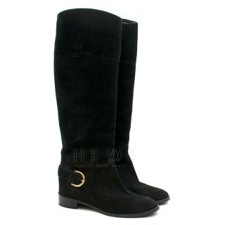 Louis Vuitton Black Suede Long Knee Boots