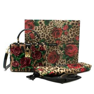 Dolce & Gabbana Leopard-Print Floral Velvet Box Bag