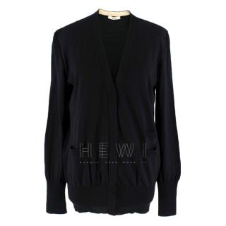Celine Black Wool & Silk Cardigan