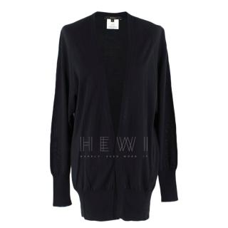 Gucci Black Longline Cashmere, Silk & Wool Blend Cardigan