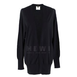 Gucci Black Longline Cashmere, Silk & Wool Blend Cardigan