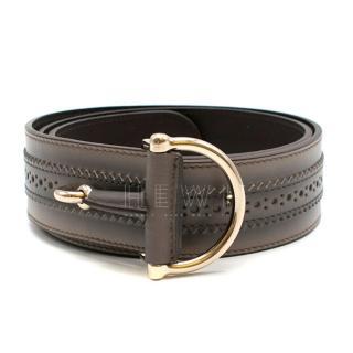 Gucci Grey Ombre Lasercut Leather Belt