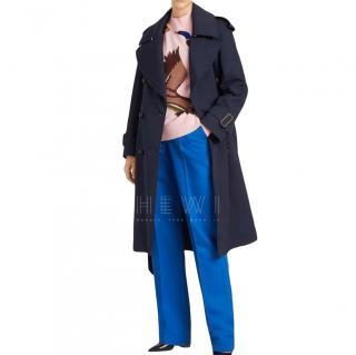 Burberry Navy Wool Trench Coat - New Season