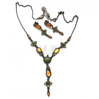 Nina Ricci Crystal Necklace & Earrings Set