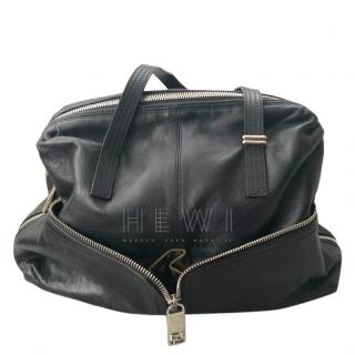 Fendi Double Zip Black Leather Tote Bag