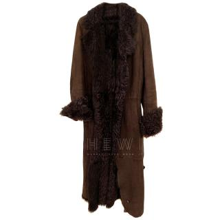 Ventcourvert Brown Shearling Lined Suede Coat