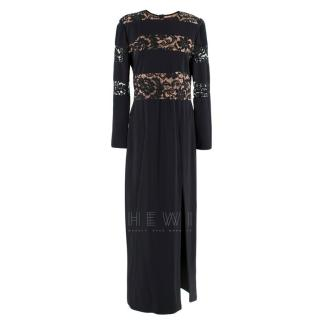 Alessandra Black & Nude Lace Panelled Gown