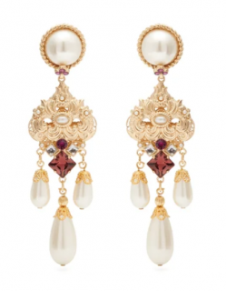 Dolce & Gabbana Crystal & faux-pearl drop clip earrings