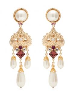 Dolce & Gabbana Crystal & faux-pearl drop clip earrings