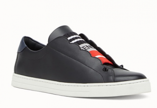 Fendi Black Stretch Leather Slip-Ons