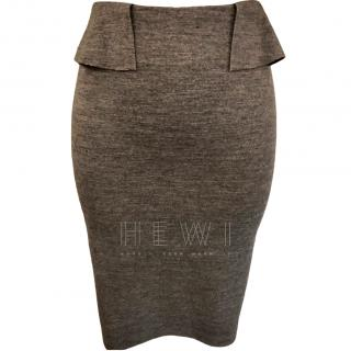 Joseph Grey Wool Blend Fitted Skirt