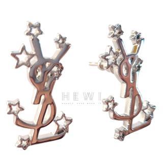Saint Laurent Silver Tone Monogram Star Earrings
