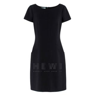 Prada Black Wool Short Sleeve Shift Dress