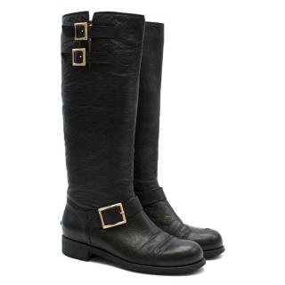 Jimmy Choo Black Yule leather biker knee boots